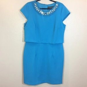 Covington Women's Dress Size 16 Blue Embellished